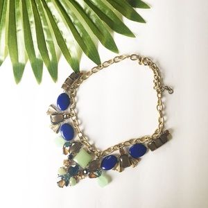 J Crew Statement Crystal Necklace Green Blue